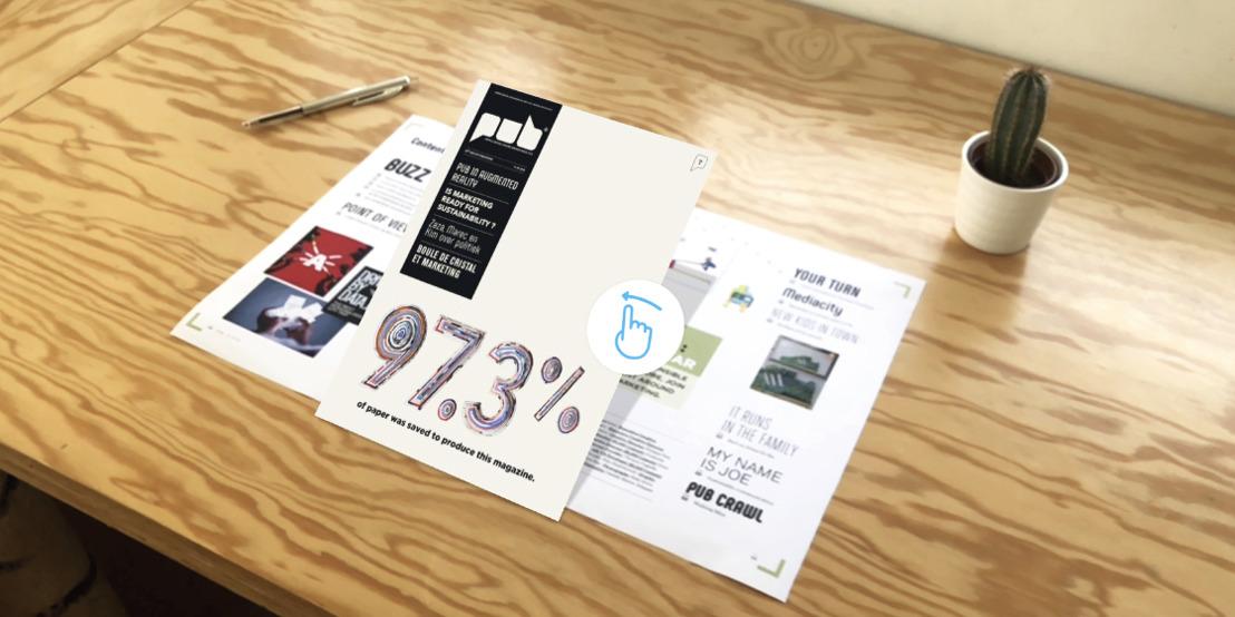 Happiness bespaart papier voor PUB met augmented reality.