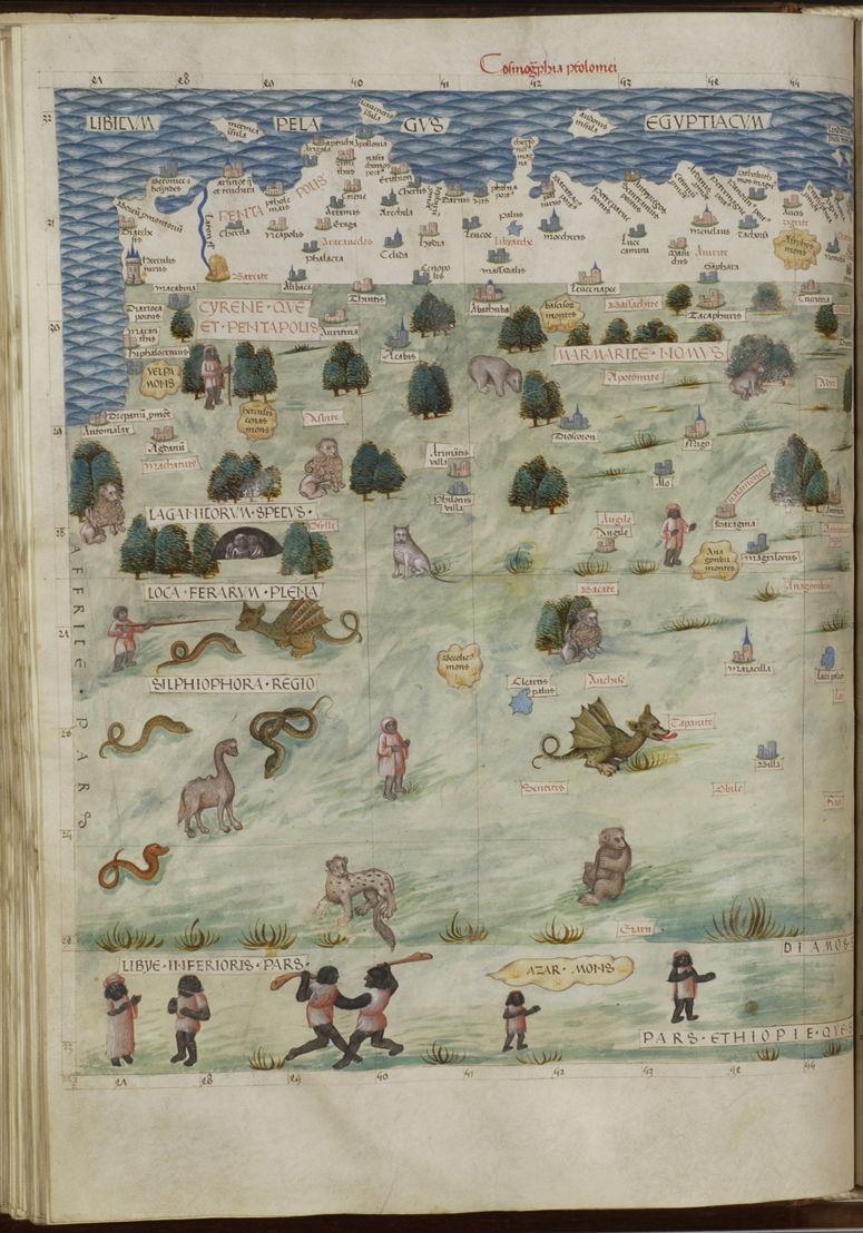 Carte du Nil et de régions inconnues d'Afrique septentrionale, dans Geographia, Claudius Ptolemaus, 1482-1485, Bibliothèque royale de Belgique, Cabinet des Manuscrits, 14887, f.79v.