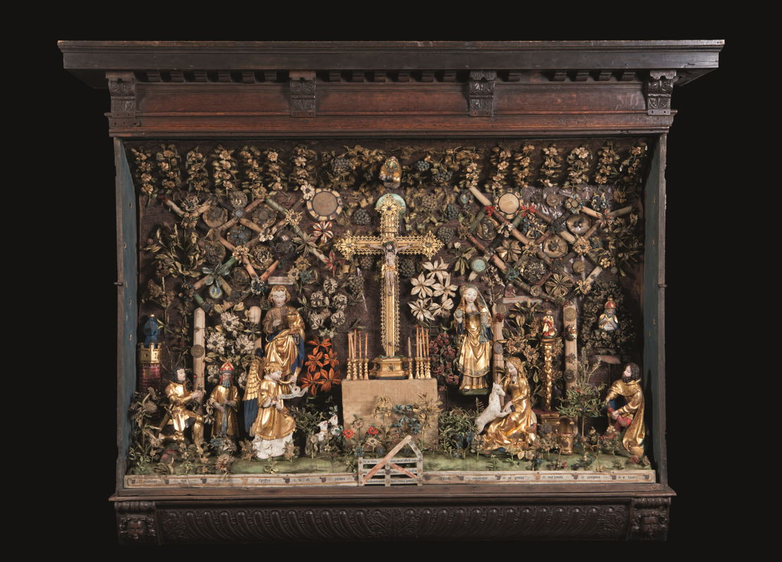 © Jardin clos avec Calvaire et Chasse à la Licorne, Malines, vers 1500–1530.<br/>Musea en Erfgoed Mechelen – Collection des Gasthuiszusters (Kik-irpa, Brussels).