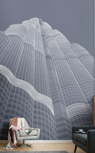 Blueprint-inspired mural designs depict the world's most iconic skyscrapers