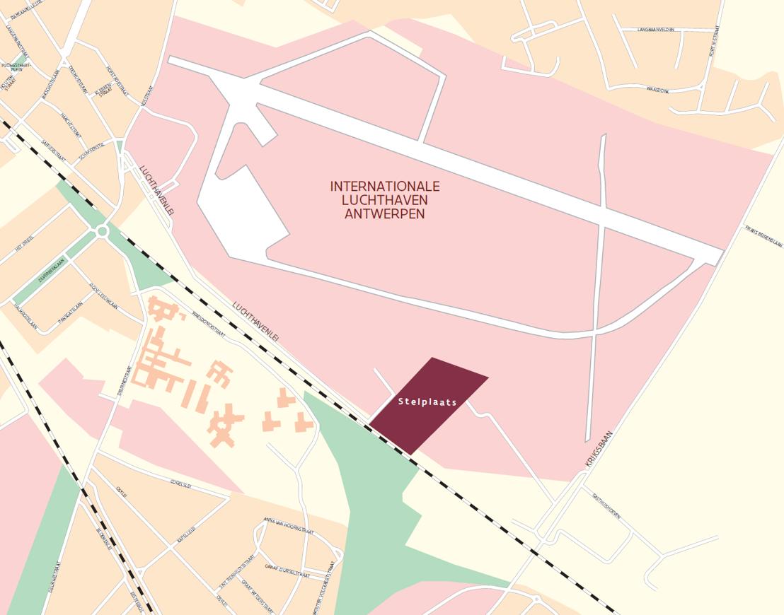 De nieuwe stelplaats ten  oosten van de stad: luchthaven.