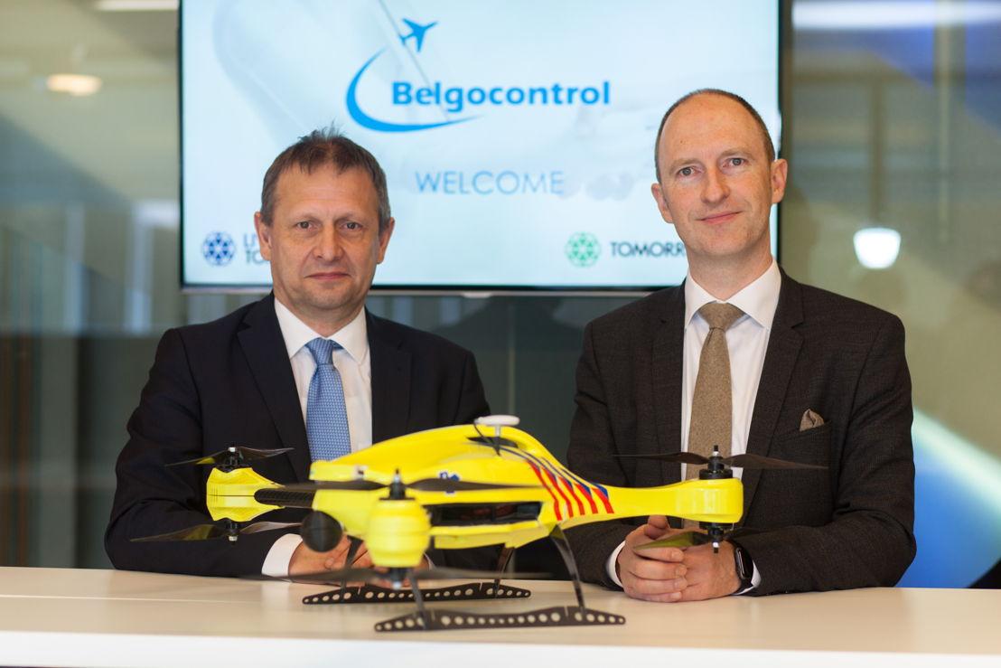 Johan Decuyper, CEO van Belgocontrol en Joachim De Vos, CEO van Living Tomorrow