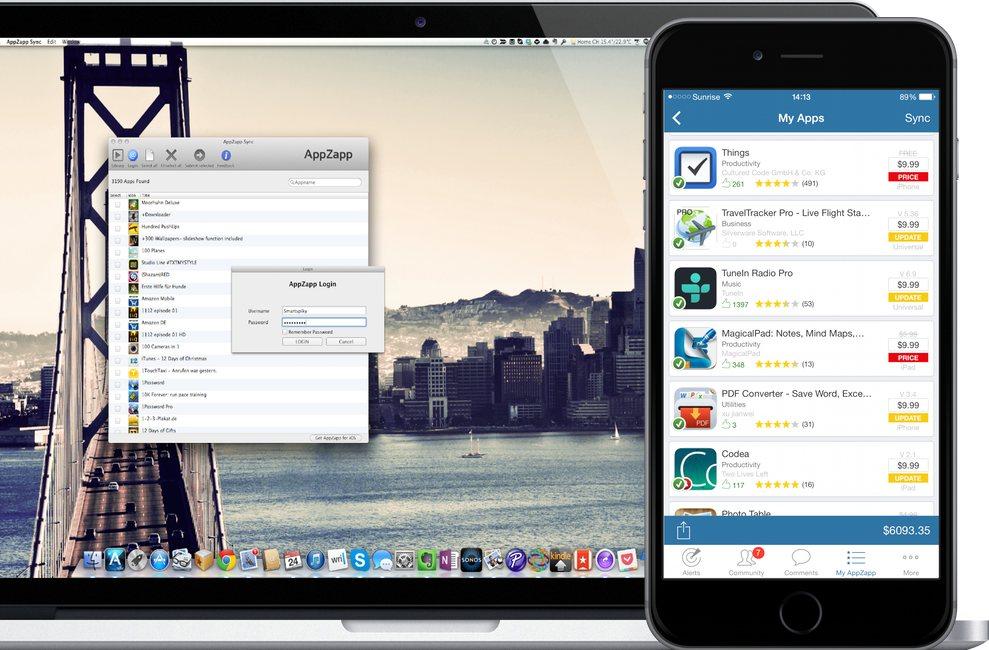 AppZapp Sync on Macbook & iPhone black