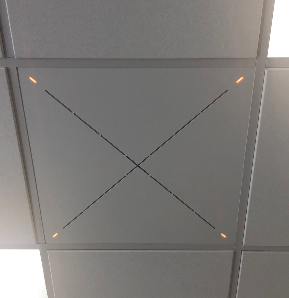 A close up of Sennheiser's Team Connect Ceiling at St. John's University. The 2' x 2' tile is aesthetically seamless and easy to install. (Image courtesy of St. John's University)