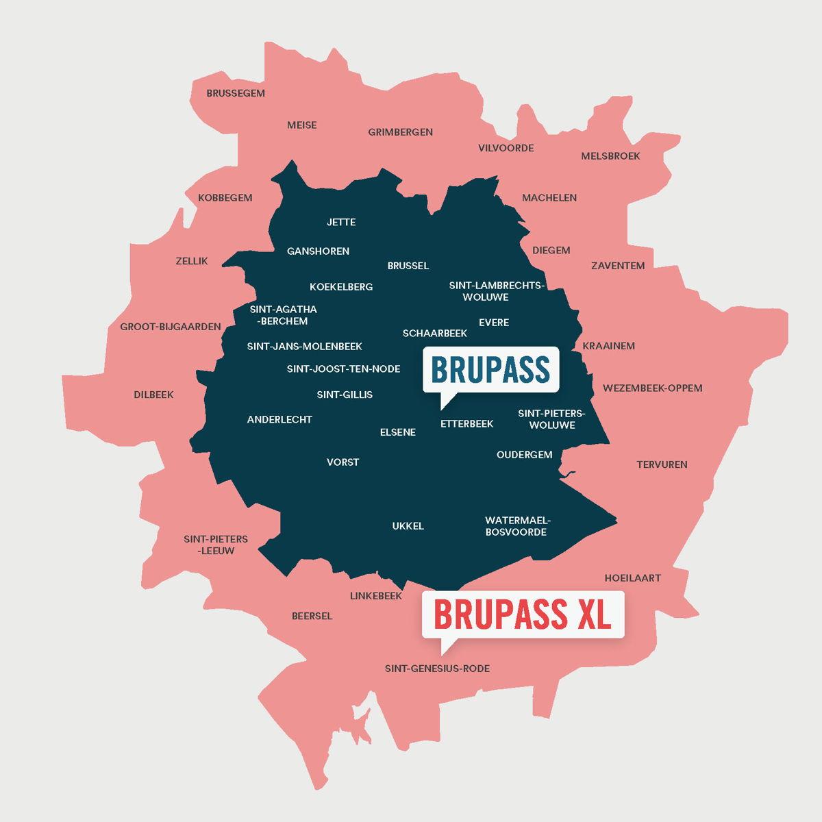 De BRUPASS XL-zone omvat de huidige zone van Brussel (de voormalige MTB-zone, de blauwe op de kaart) en de uitgebreide zone (de roze zone op de kaart).