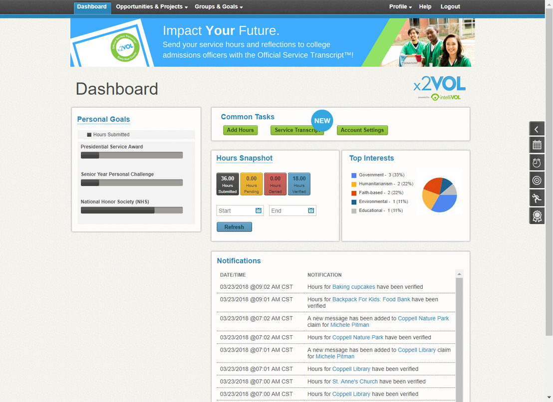 x2VOL+ dashboard to manage service and hours (for individuals)