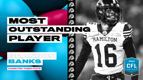 HAMILTON'S BRANDON BANKS NAMED CFL'S MOST OUTSTANDING PLAYER