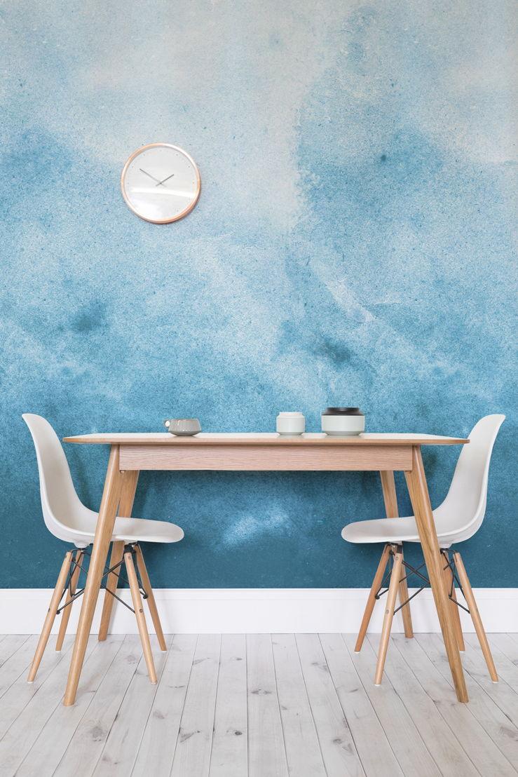 Blue Grunge Watercolour Paint Wallpaper Mural