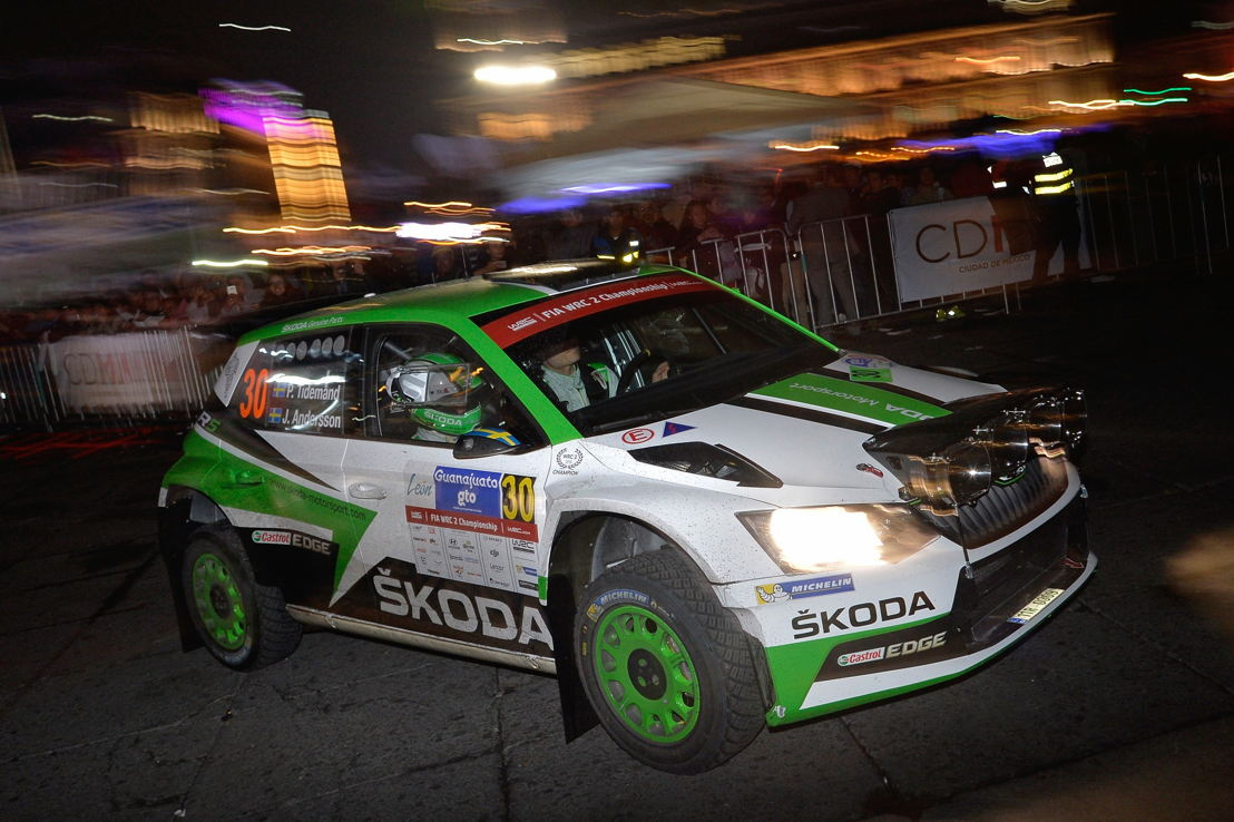 Works driver Pontus Tidemand and his co-driver Jonas Andersson thrilled fans at the start of the world championship rally.