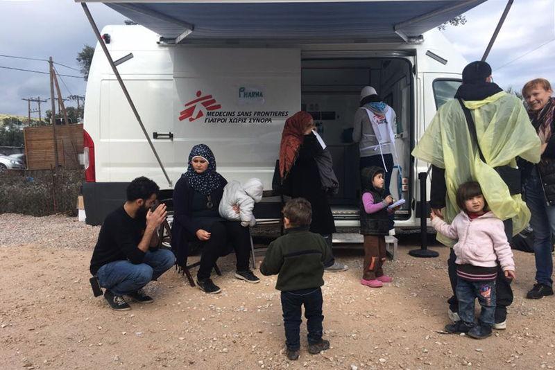 Clinique mobile MSF dans le camp de Moria © MSF