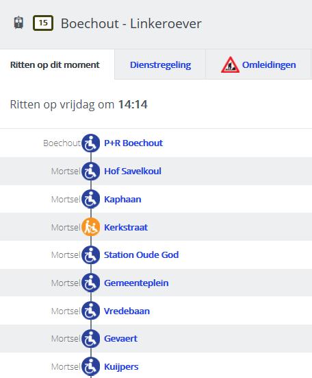 De routeplanner van De Lijn geeft info over de toegankelijkheid van elke halte. De info is op te vragen via www.delijn.be/mml.