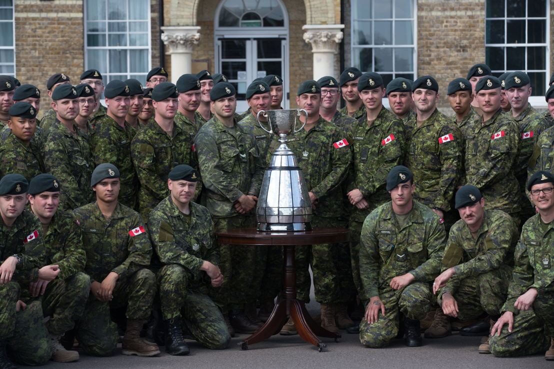 The Second Battalion of Princess Patricia's Canadian Light Infantry with the Grey Cup. Photo: Jim Ross/CFL