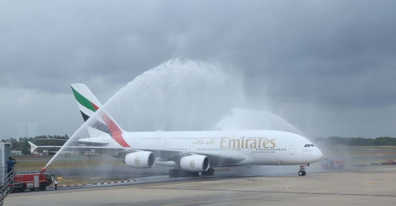 The Emirates A380 is greeted by a water cannon salute at Bandaranaike International Airport (BIA), Sri Lanka.