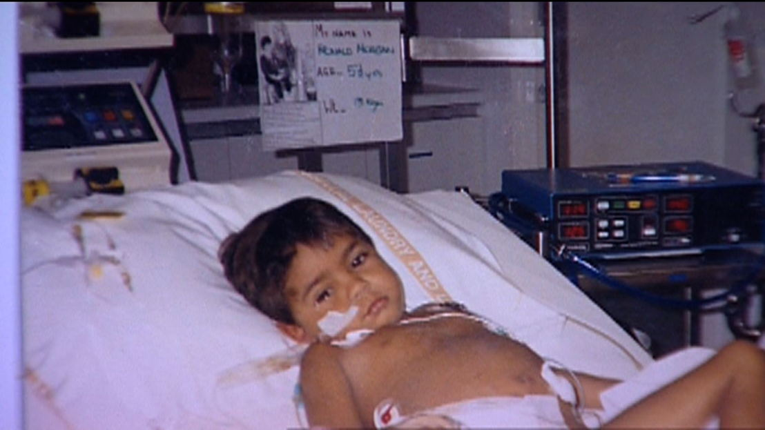 3 Five year old Ronald Morgan in hospital 1989