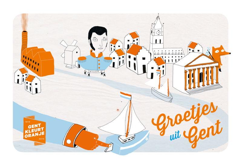 Postkaart Gent Kleurt Oranje