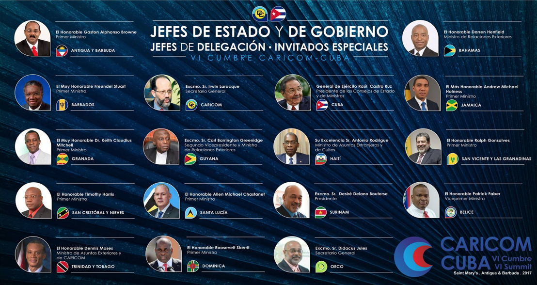 Head of Governements participating at the 6th CARICOM CUBA Summit