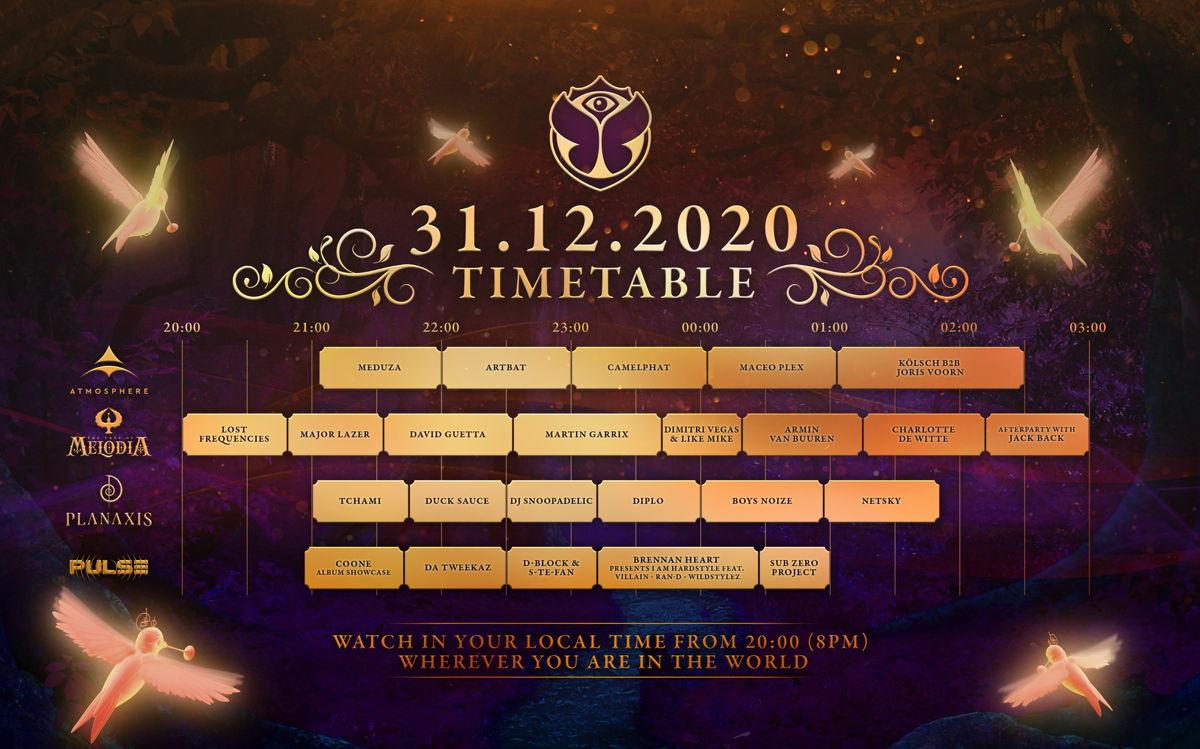 Tomorrowland 31.12.2020 - timetable