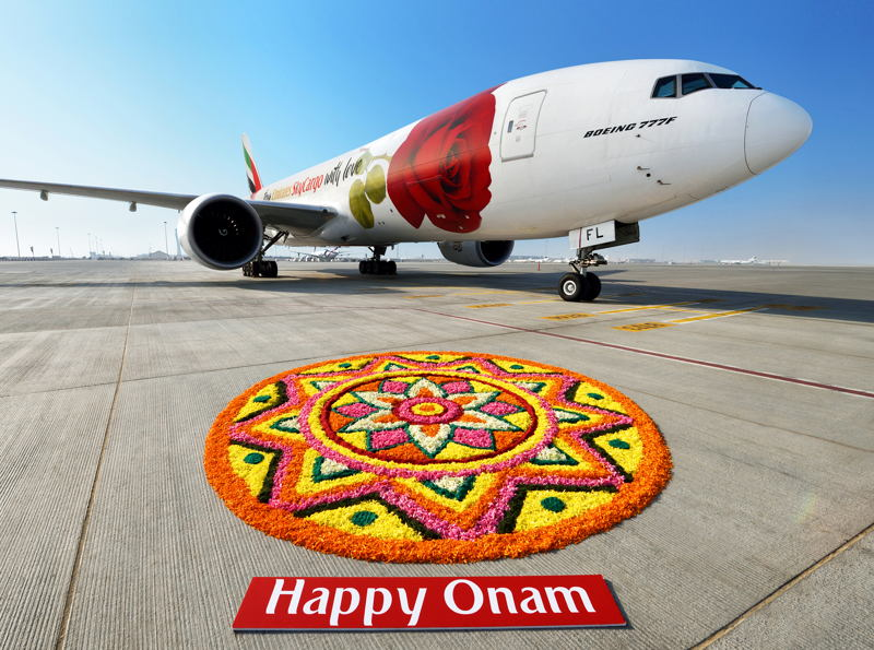 Emirates SkyCargo's Rosie marks the Indian festival of Onam with a colourful tradition 'Pookalam'