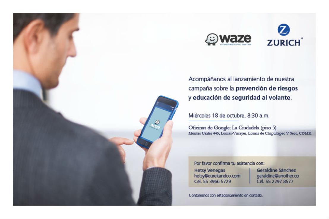 Invitación: lanzamiento de campaña de Waze y Zurich