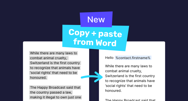 Copy + paste content from Word docs