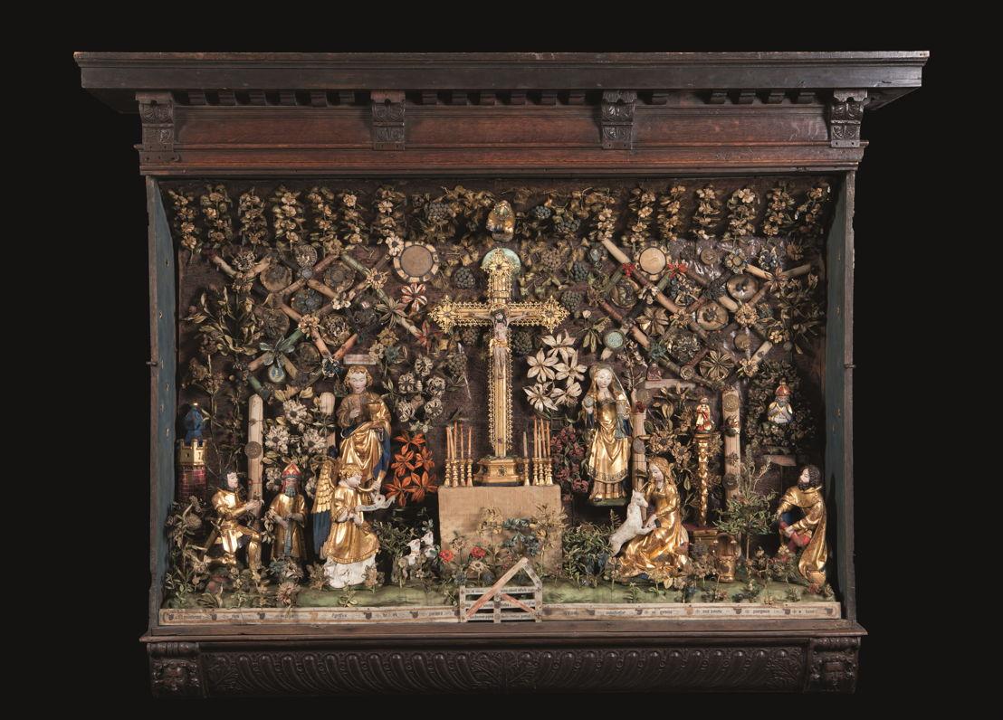 À la recherche d&#039;Utopia © Jardin clos avec Calvaire et Chasse à la Licorne, Malines, vers 1500–1530.<br/>Musea en Erfgoed Mechelen – Collection des Gasthuiszusters. (Kik-irpa, Brussels)