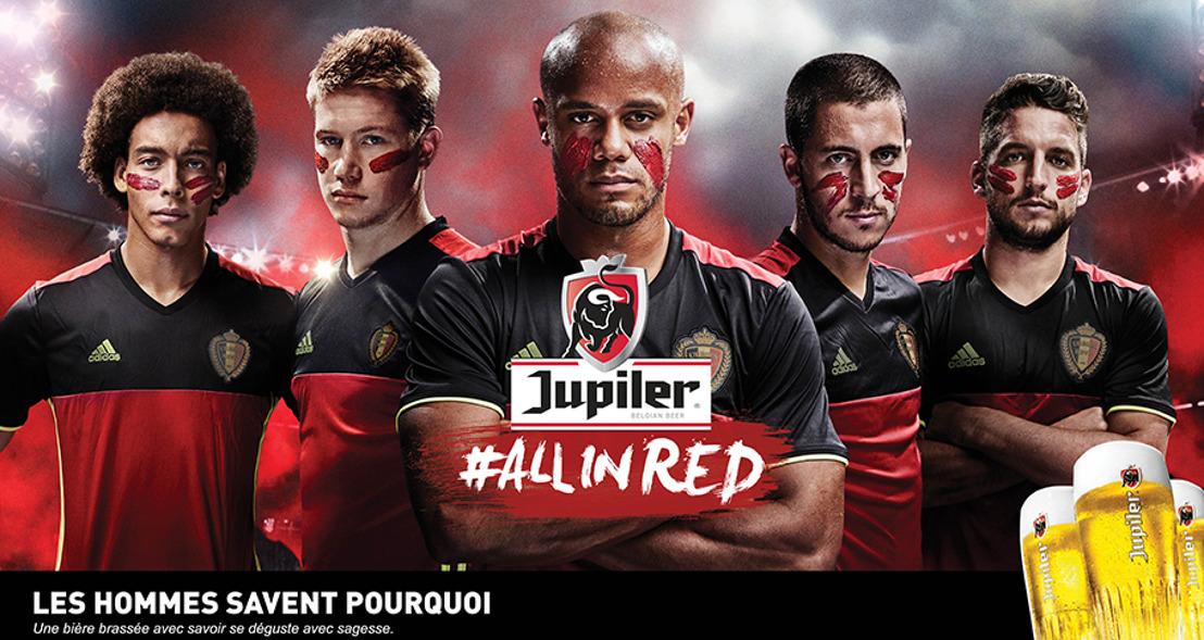 La campagne Jupiler #ALLINRED colore le pays de rouge et veut réunir tous les Belges derrière les Diables Rouges