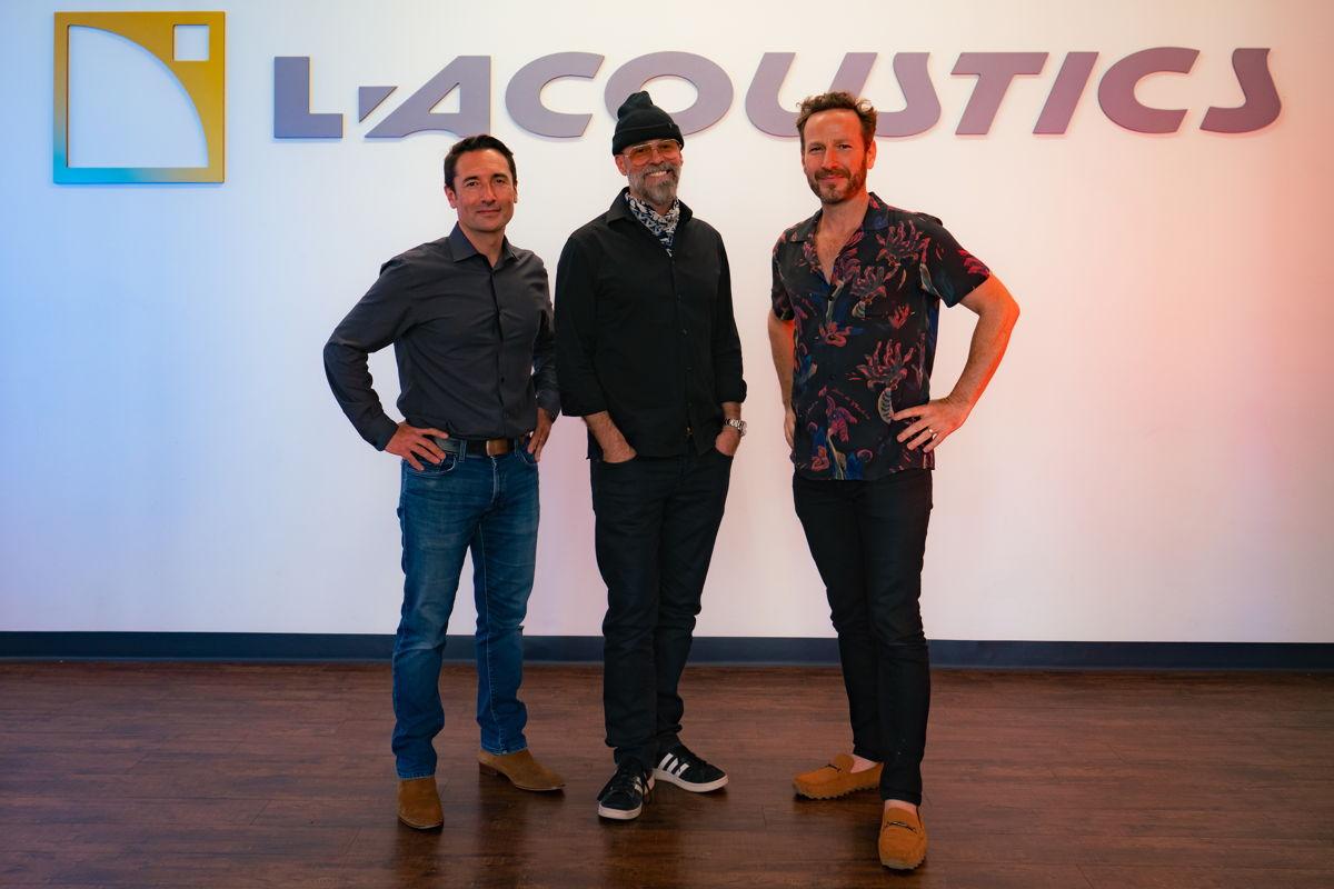 Dennis White (Latroit), flanked by L-Acoustics CEO Laurent Vaissié (L) and music impresario and radio personality Jason Bentley (R) - (Photo credit: ZB Images)