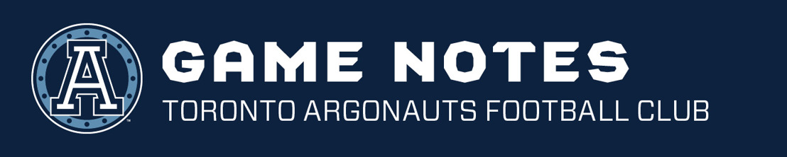 TORONTO ARGONAUTS DEPTH CHART & GAME NOTES - JULY 21 VS WINNIPEG BLUE BOMBERS