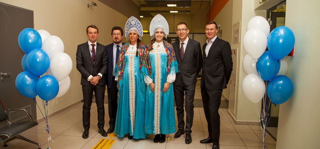 Officials welcoming flydubai's inaugural flight to Sheremetyevo International Airport