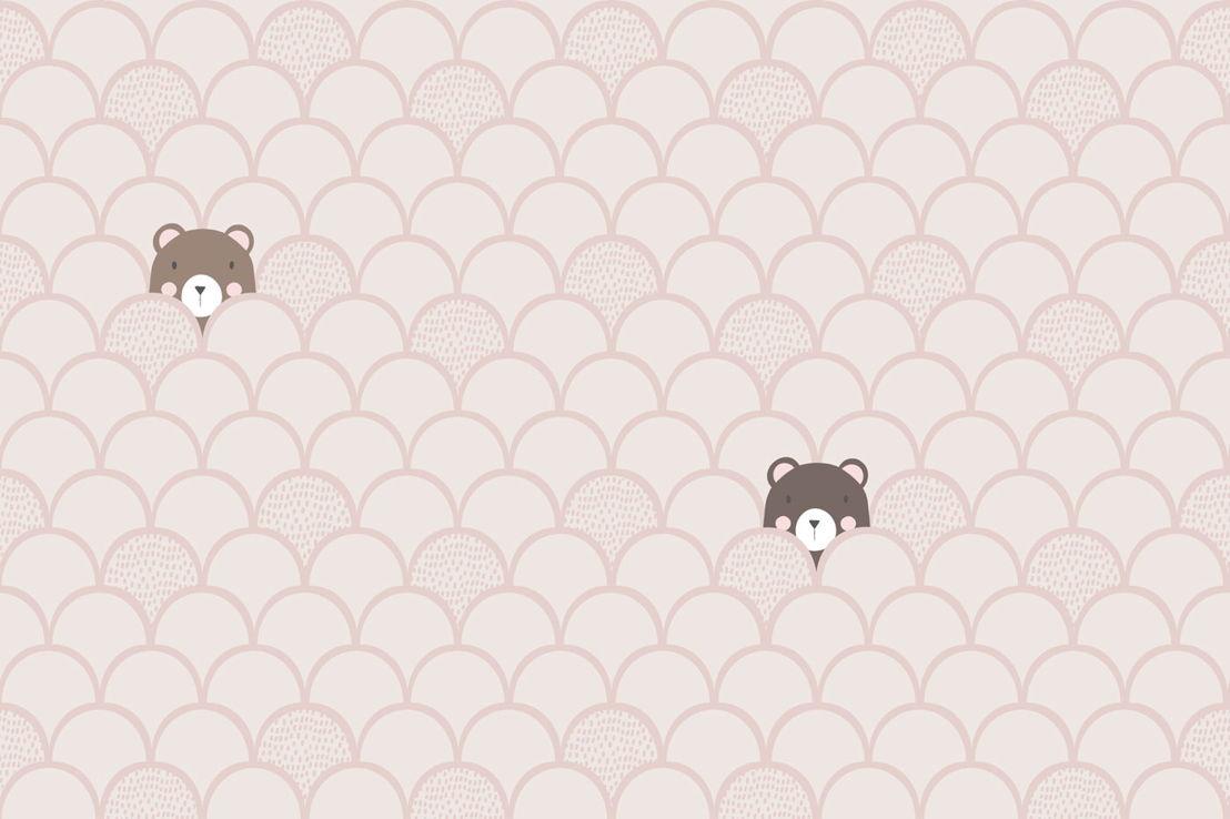 Kids Cream Pop Up Bears Wallpaper Mural