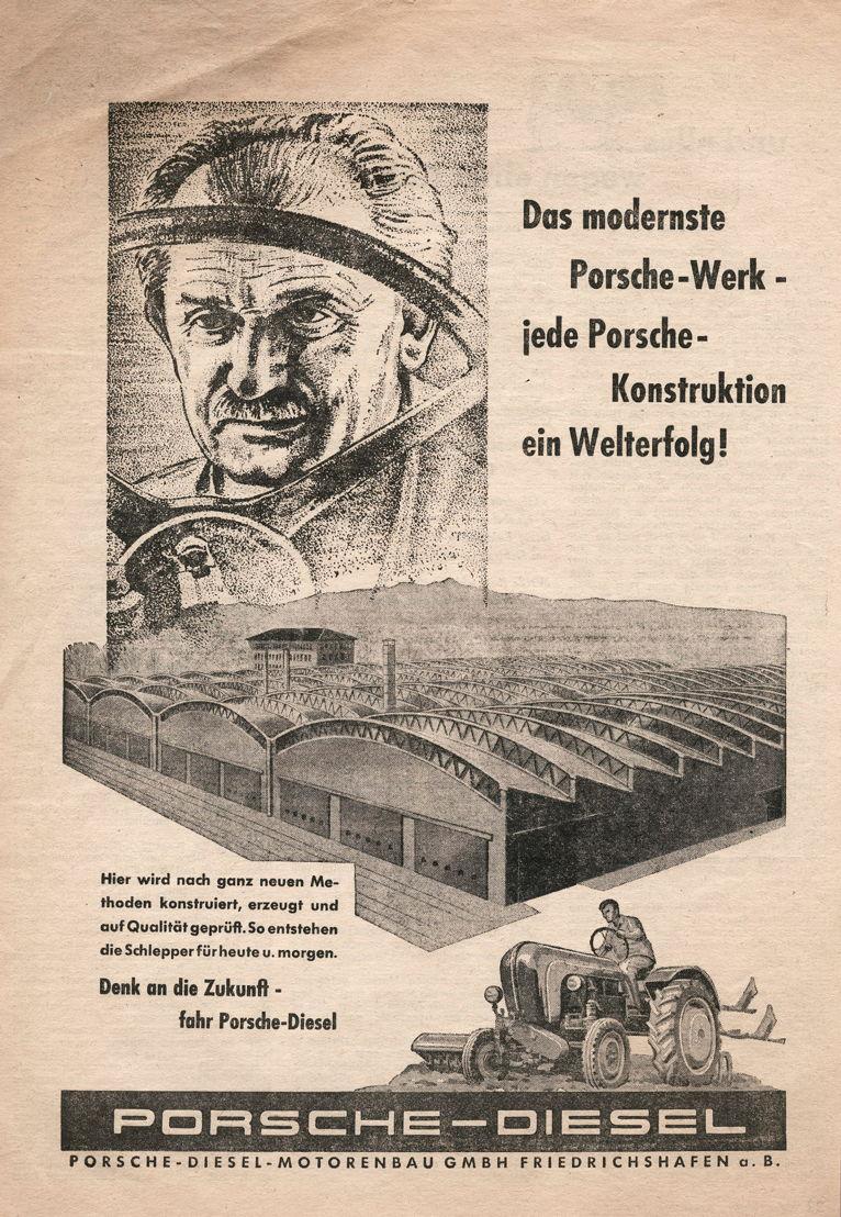 1956. El primero de enero de 1956 fue fundada Porsche-Diesel-Motorenbau GmbH Friedrichshafen a.B. En el cuarto trimestre reinicia la roducción de tractores y motores estacionarios
