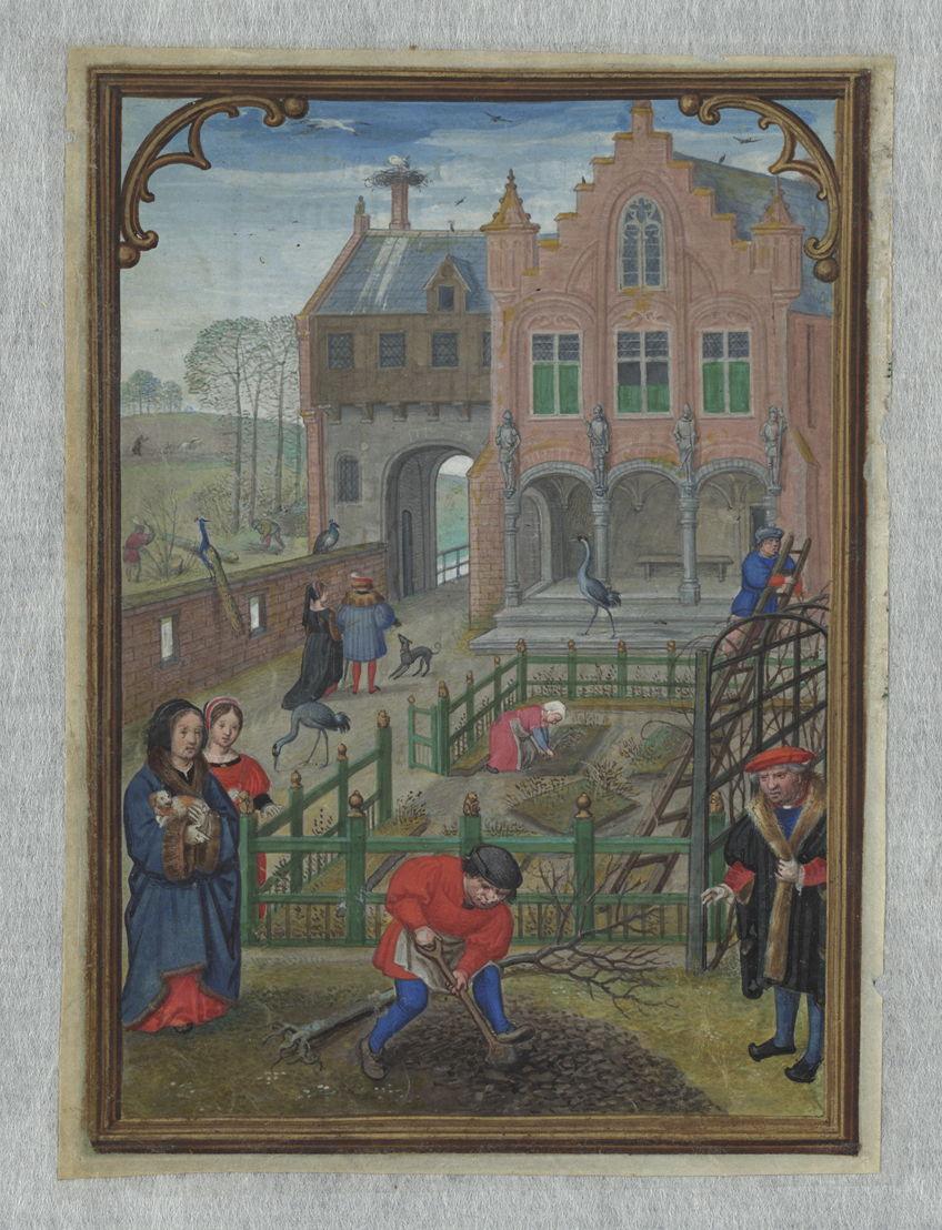 Maart, Simon Bening, in het Hennessy-getijdenboek, Brugge, ca. 1530, Koninklijke Bibliotheek van België, Handschriftenkabinet, II 158, fol.3v.