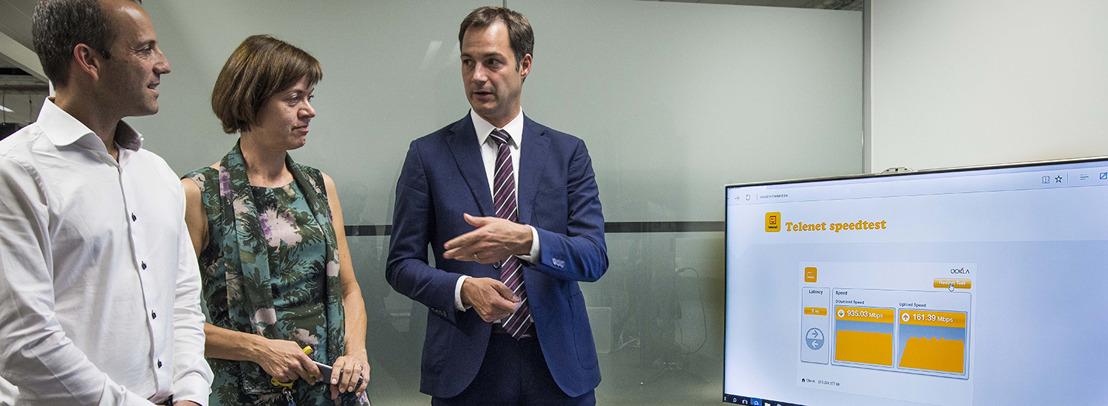Minister De Croo op bezoek bij Telenet