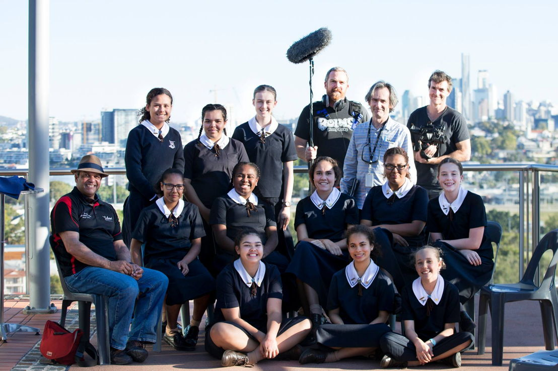 Australian Story and the children at St Margaret's Anglican Girls School. Pic credit St Margaret's Anglican Girls School