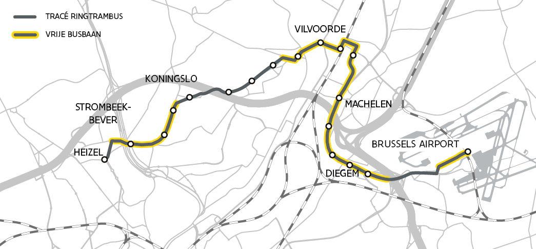 Op grote delen van het tracé komen er vrije beddingen voor de Ringtrambus