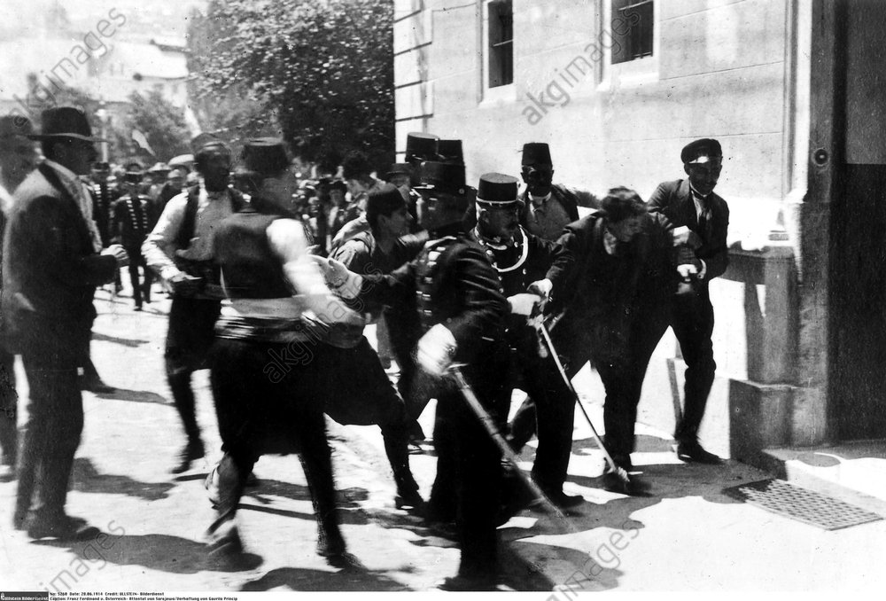 The arrest of Gavrilo Princip after the assassination of Archduke Franz Ferdinand. Photo, 06.28.1914<br/>AKG377418