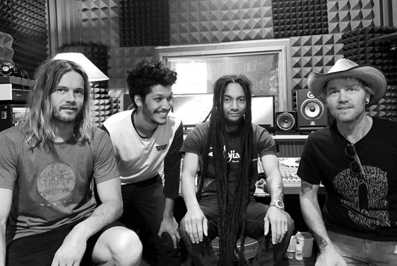 The Jack Mantis Band L-R: Andre Geldenhuys - lead guitar, Brandon Cupido - bass, Wade Brown - drums,  Jack Mantis - singer, guitarist and pianist. Image by Philip Pells