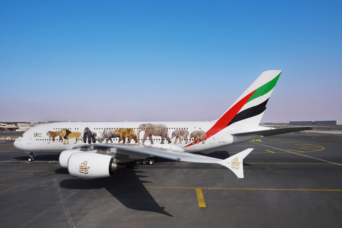 Emirates Aircraft with United for Wildlife livery.