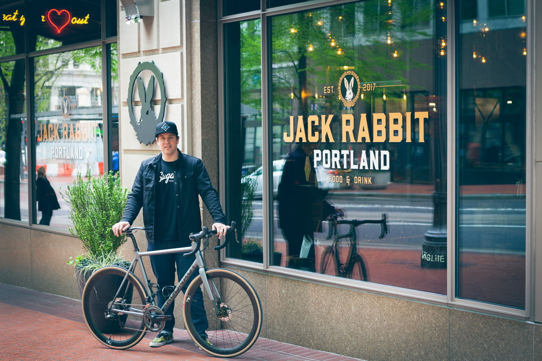 Chris DiMinno with personal (not for raffle) Argonaut at his Portland Restaurant Jack Rabbit