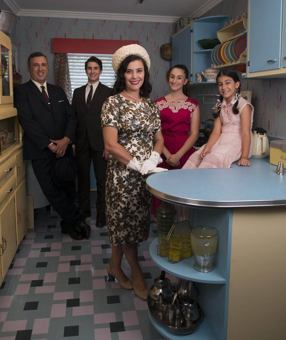 High-res image of The Ferrone family in their 1950's kitchen