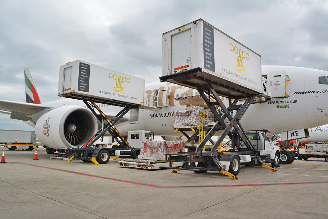 Cargo being offloaded from Emirates' Boeing 777-200LR at Chicago's O'Hare International Airport