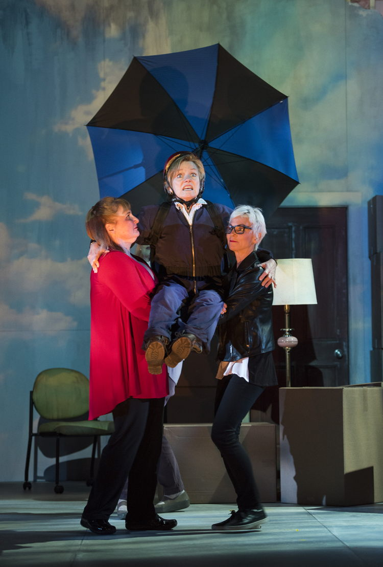 Deborah Williams, Robin Nicol, and Jill Daum in the 2016 production of Mom's the Word: Nest ½ Empty. Set and costume design by Pam Johnson and lighting design by Marsha Sibthorpe. Photo by Emily Cooper