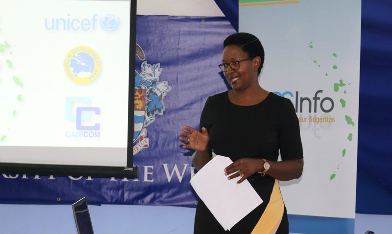 Mrs. Muriel Mafico, Deputy Country Representative in the Eastern Caribbean Area for UNICEF, delivers brief remarks.