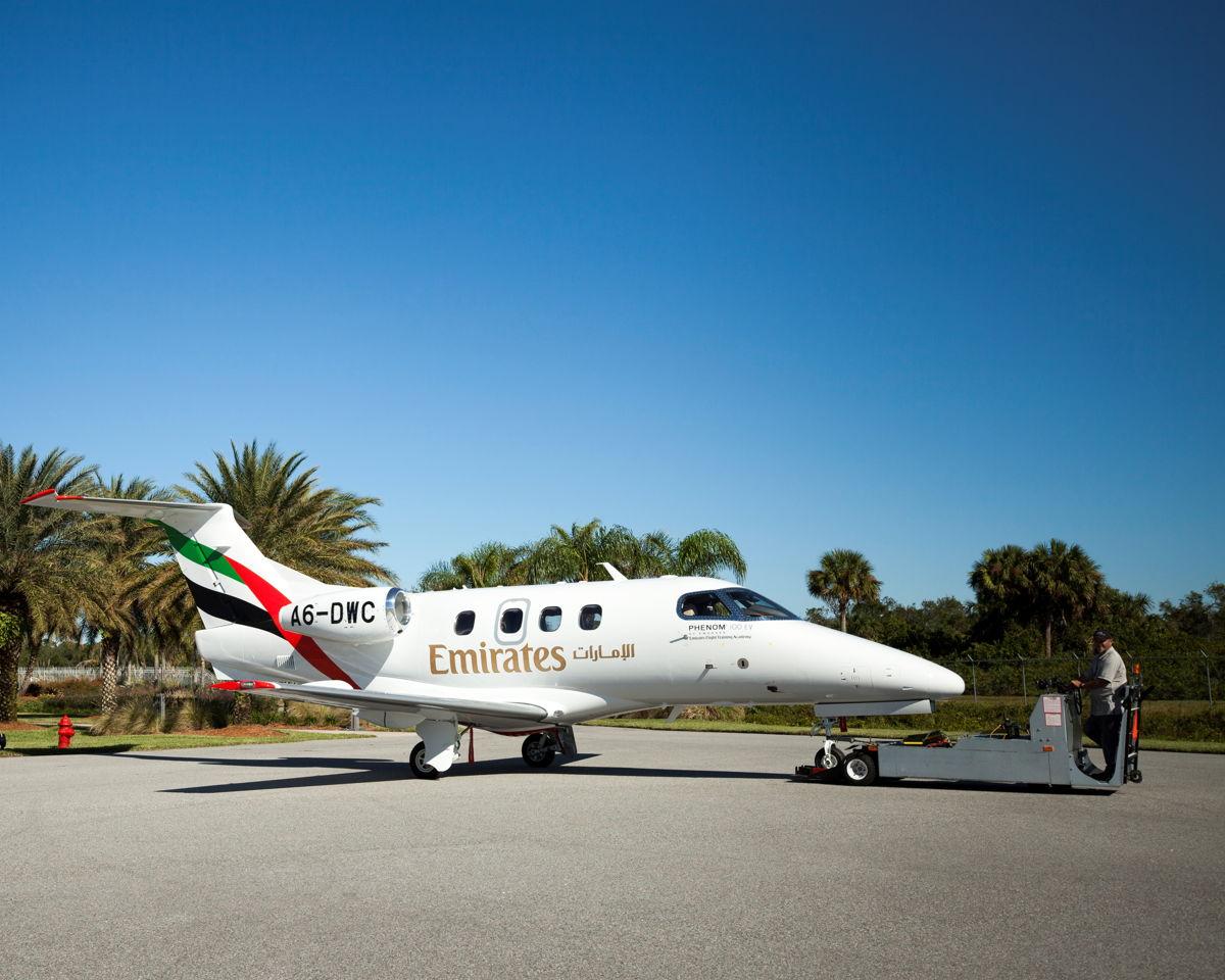 The Emirates Flight Training Academy's Embraer Phenom 100EV