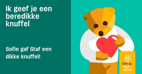 Geef elkaar een virtuele knuffel(beer) dankzij Kom op tegen Kanker