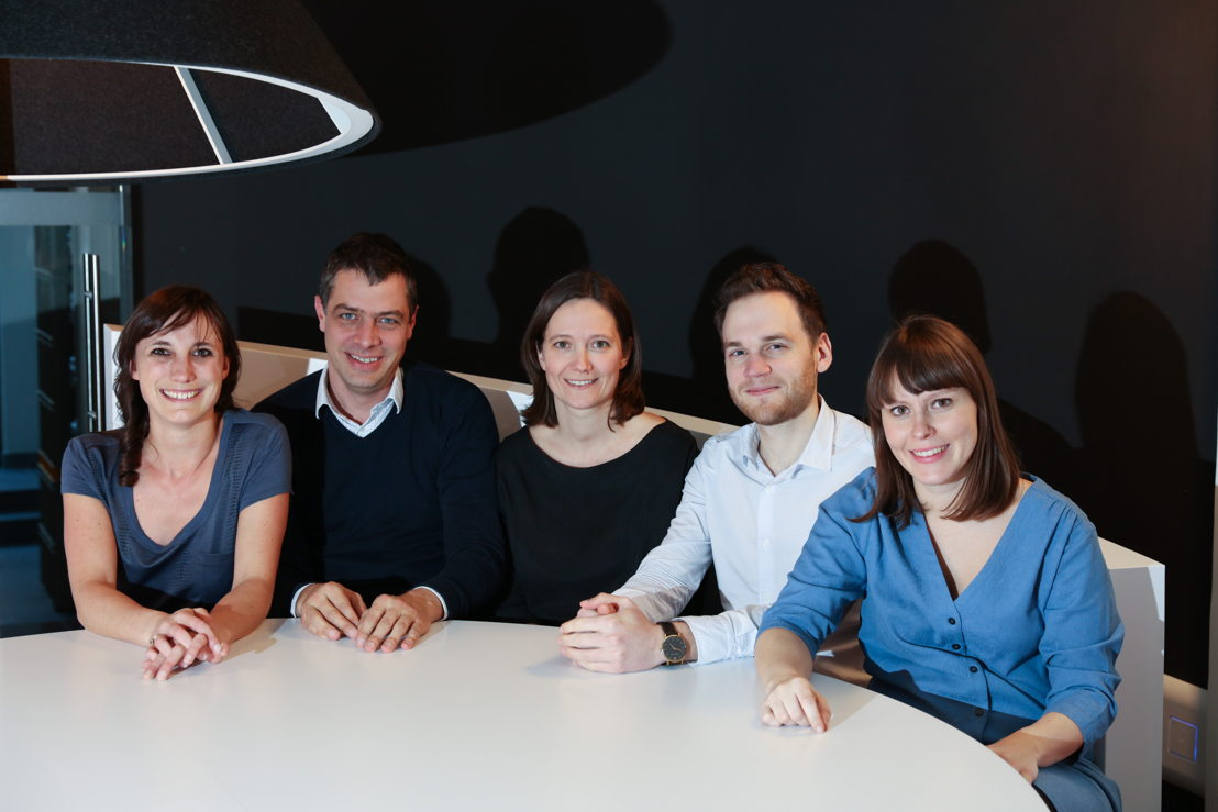 Het Gentse team van The Oval Office. Vlnr: Isabelle De Schryver, Jurgen Van Damme, Line Reynaert, Leander Leenders en Joke Gabriëls