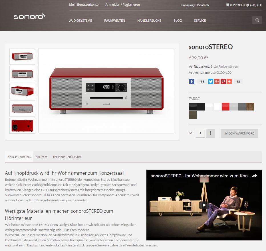 sonoro Online-Shop