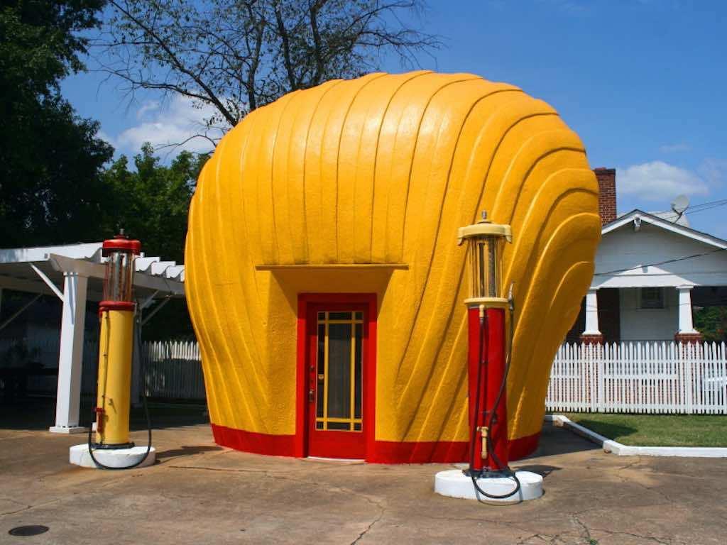 "Shell-Shaped-Gas-Station-North-Carolina-by-Chuck-Coker-""Caveman-Chuck""-CokerFlickr"