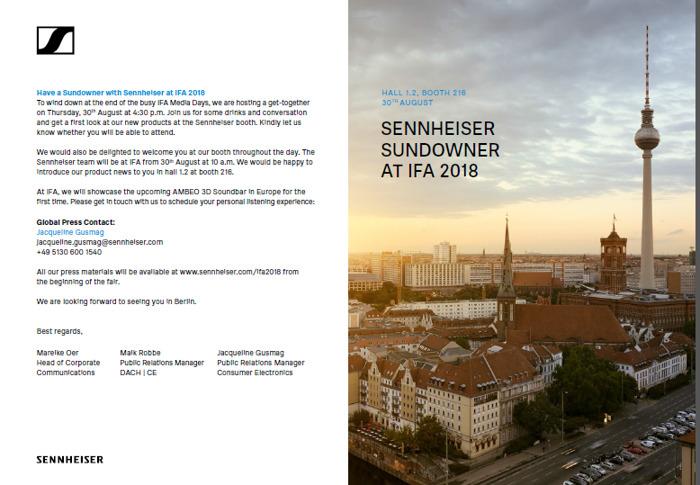 Sennheiser inviterer til get-together på IFA 2018