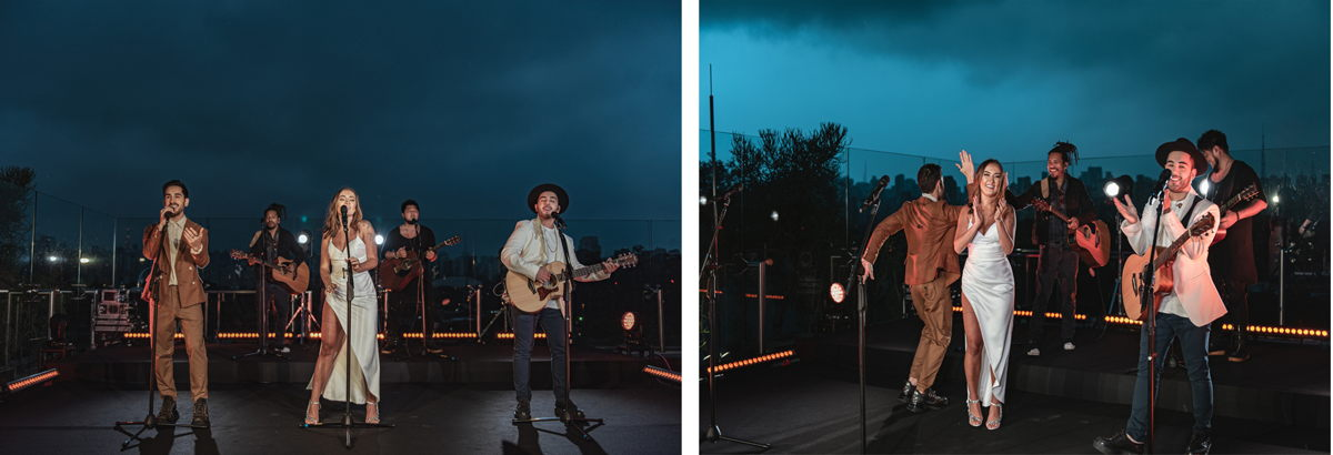 """Melim performed """"Eu Feat. Você"""" in a spectacular rooftop setting, using SKM 9000/MD 9235 combos and evolution wireless IEM G4 monitors. Photo credit: Leo Sang"""